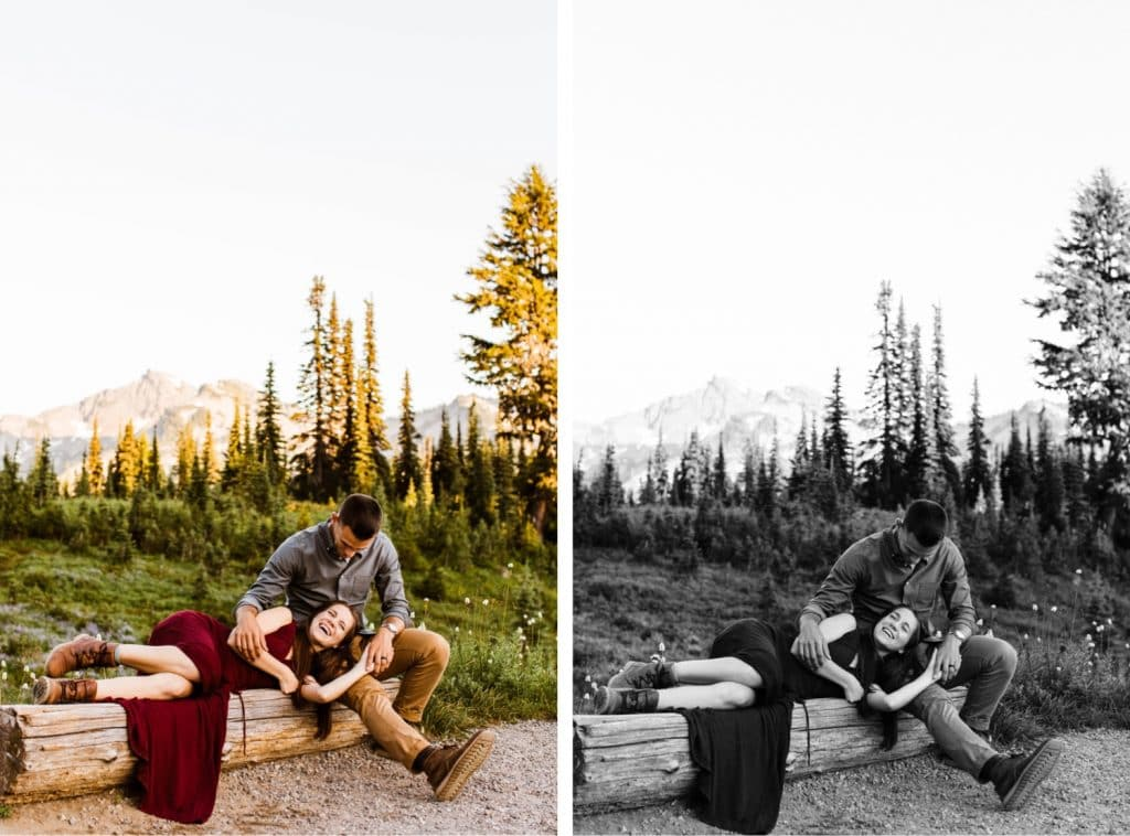 engaged couple sitting on a bench in the mountains together during their Washington engagement photos in Seattle