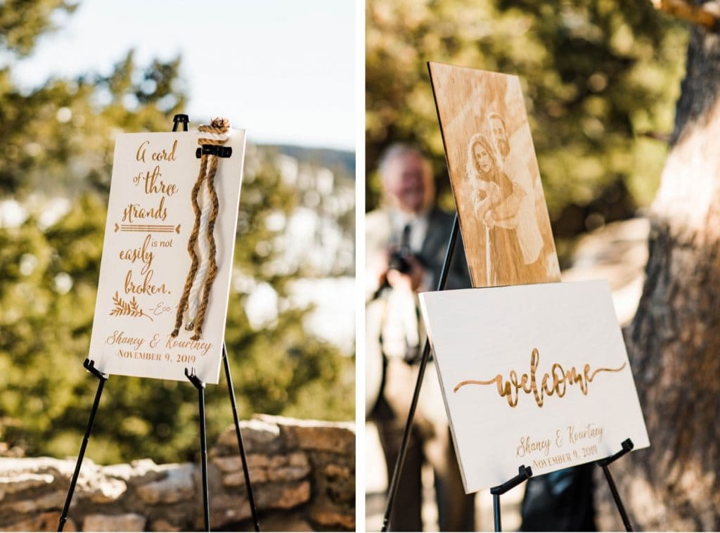 Sapphire Point Overlook wedding ceremony signs