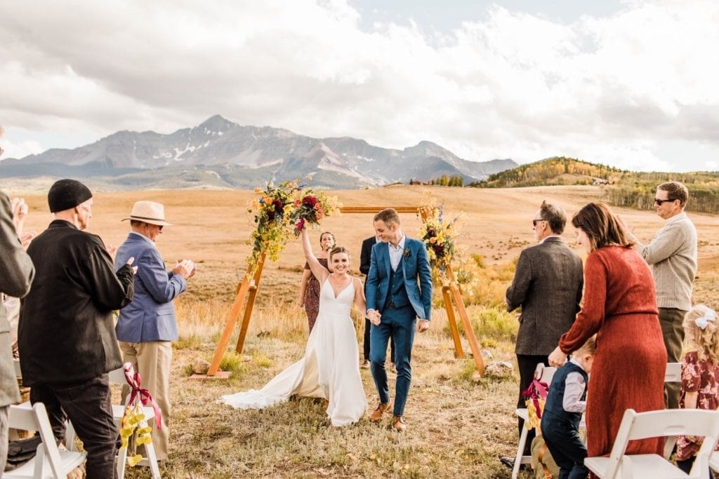 recessional during a mountainous Telluride wedding ceremony at a horse ranch on Wilson Mesa