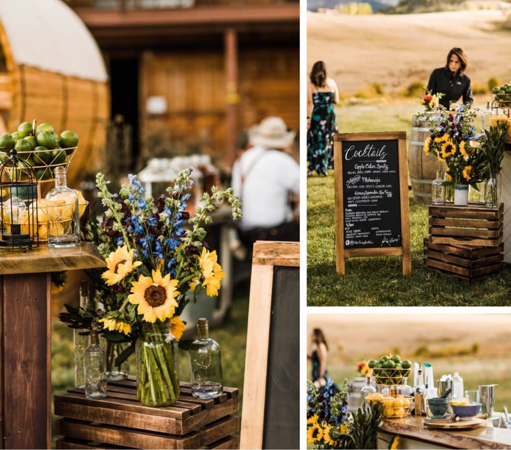 floral decor for a mountain wedding in Telluride at a horse ranch