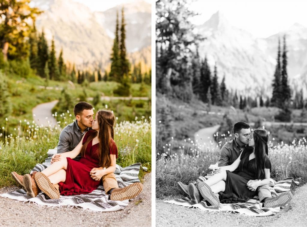 couple snuggling up on a blanket in the mountains during their engagement photos in Seattle WA