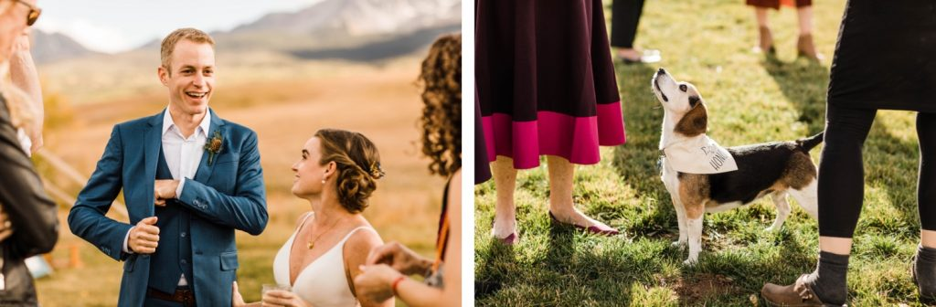 cocktail hour photos at a private horse ranch in the mountains during an adventurous Telluride wedding