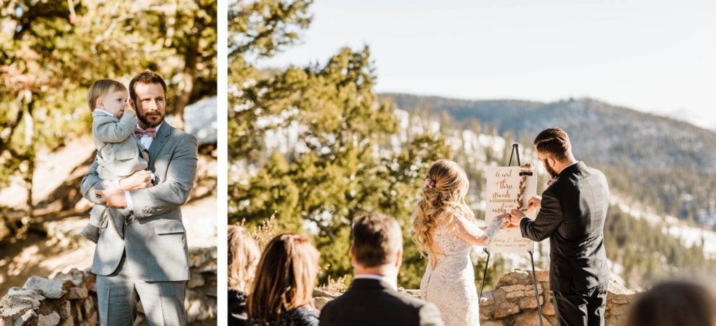 unity ceremony at a Sapphire Point Overlook wedding ceremony