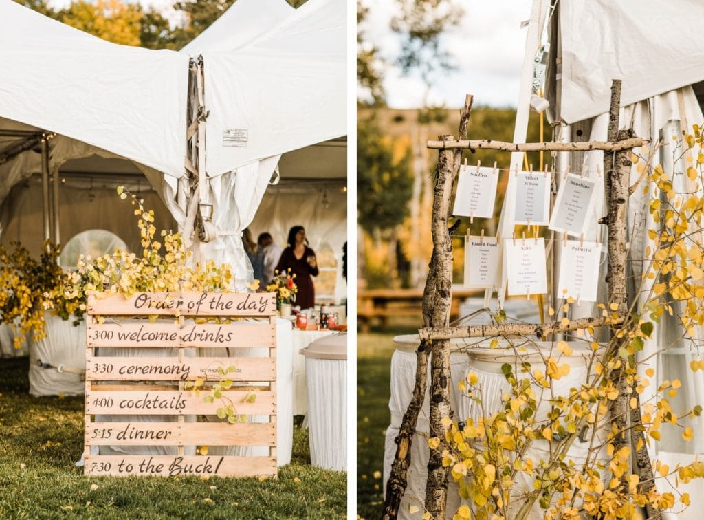 Telluride wedding decor for a horse ranch wedding in the mountains