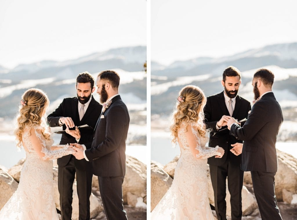 couple standing together and holding hands during their Sapphire Point wedding ceremony