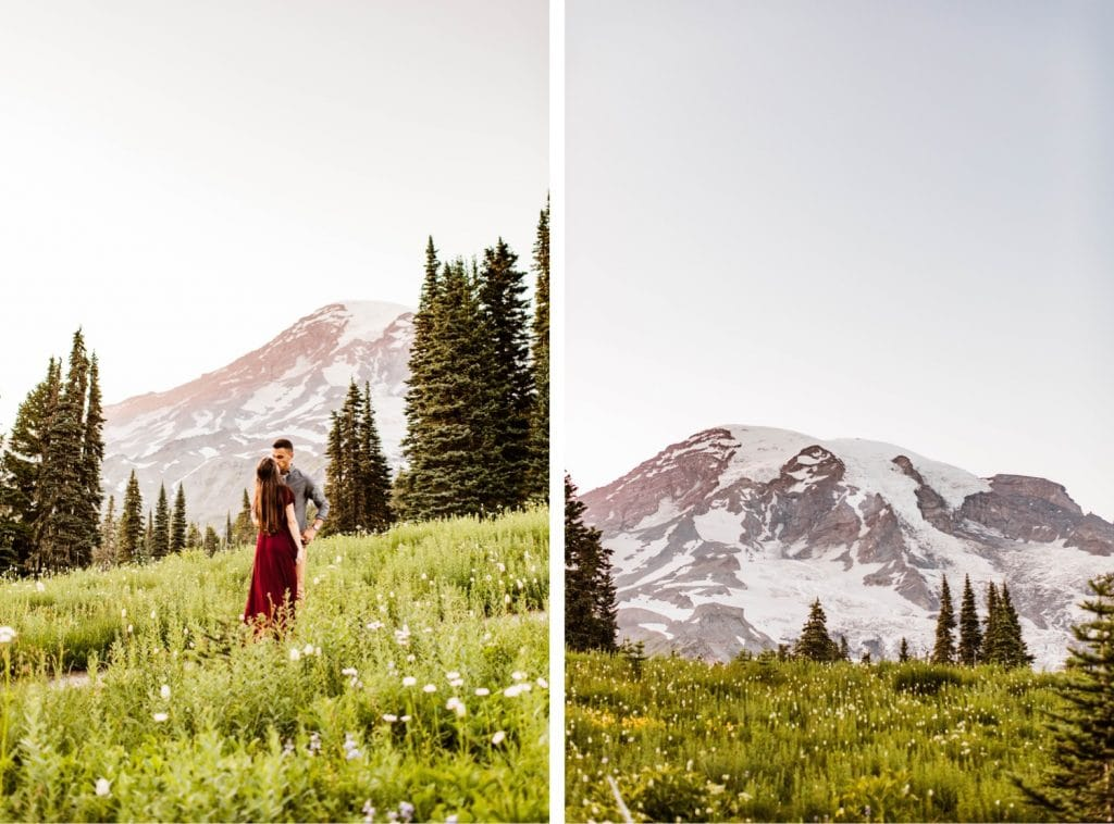 photo of Mount Rainier during engagement photos in Seattle WA in the summertime