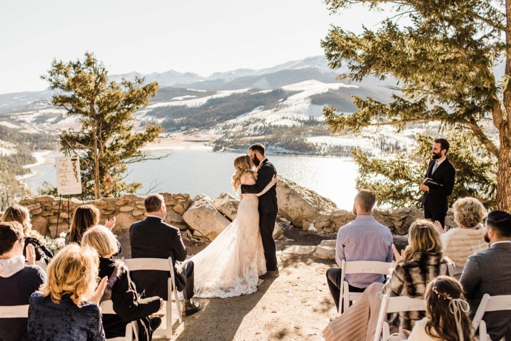 Colorado couple's first kiss during their Sapphire Point wedding ceremony