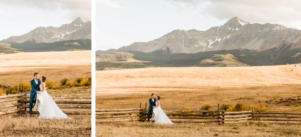 couple sitting together at a Wilson Mesa horse ranch wedding in Telluride | photographed by Telluride wedding photographers