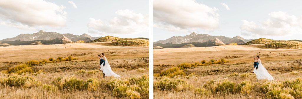 married couple running through the mountains during their Telluride wedding sunset photos | photographed by Telluride wedding photographers