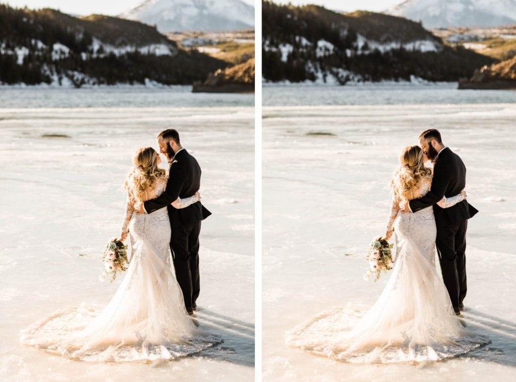 newly married couple standing on a frozen lake down the road from Sapphire Point Overlook