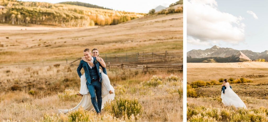 married couple running through the mountains during their Telluride wedding sunset photos | image by Telluride wedding photographers