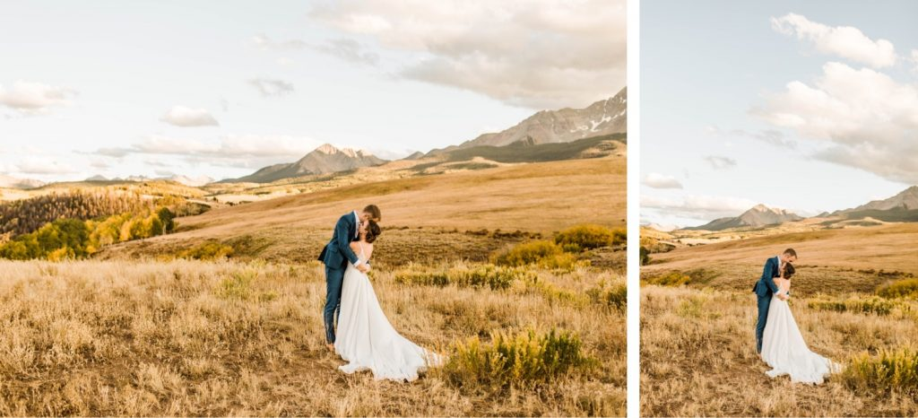 adventurous mountain wedding photos of a newly married couple at sunset during their Telluride wedding | image by Telluride wedding photographers