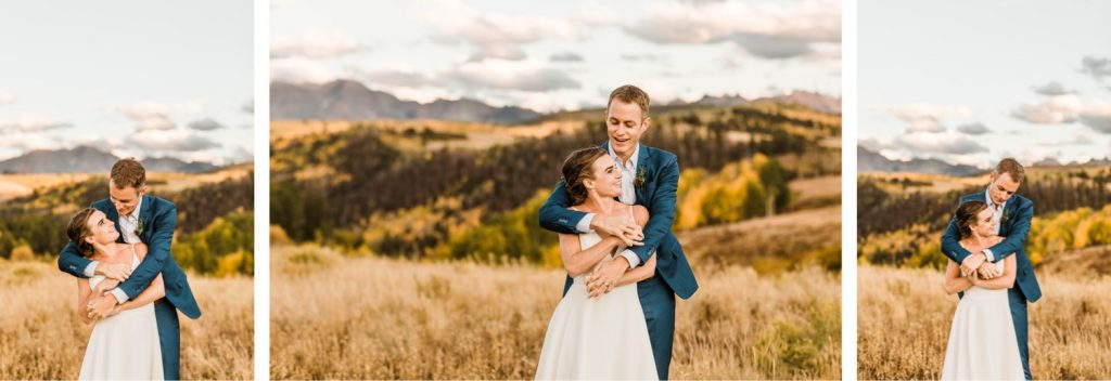 adventurous mountain wedding photos of a newly married couple at sunset during their Telluride wedding | photo taken by Telluride wedding photographers