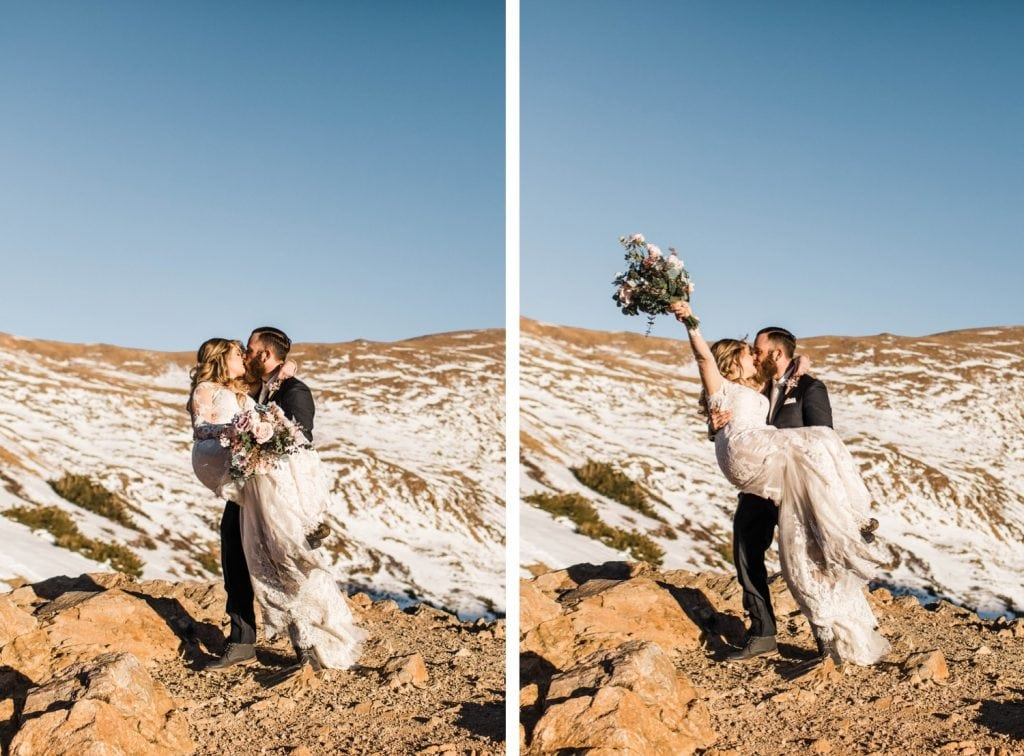 groom holding bride in the mountains after their Sapphire Point wedding in Colorado
