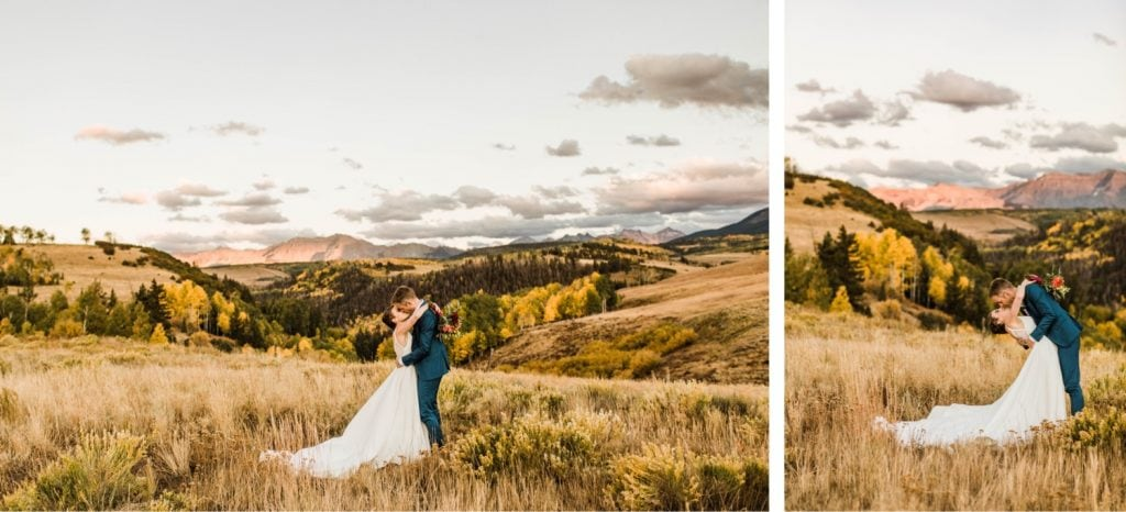 couple kissing at sunset during their Telluride wedding photos | photo taken by Telluride wedding photographers