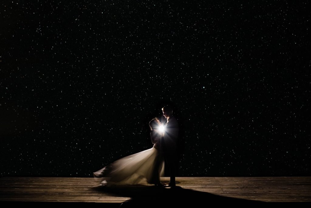 full sky of stars night wedding photo taken at the overlook in Telluride Colorado | photo taken by Telluride wedding photographers