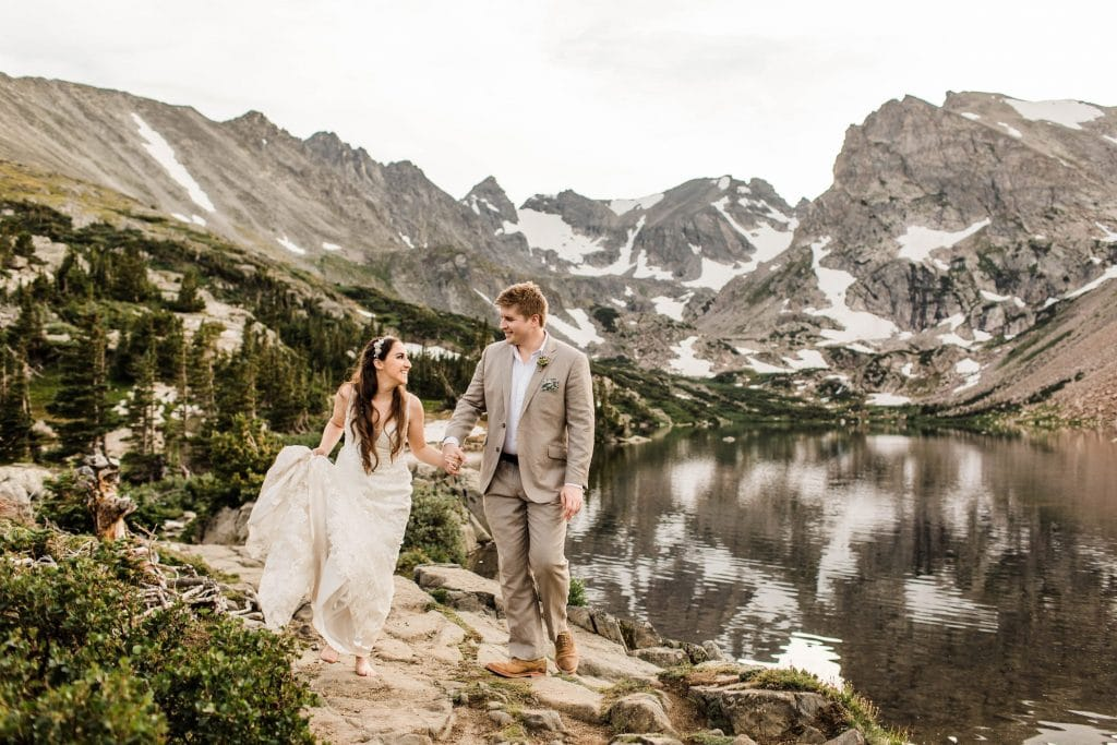 example of elopement definition with a couple eloping in the Rocky Mountains in the Indian Peaks Wilderness of CO