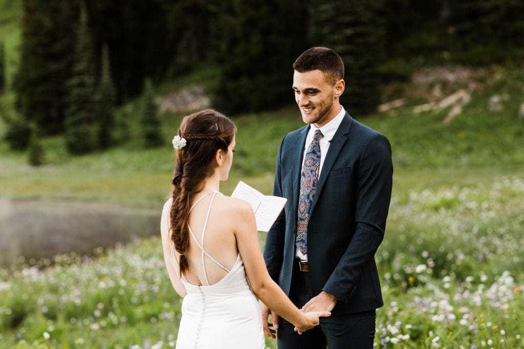 example of self solemnization in Colorado Rocky Mountains for a couple officiating their own wedding ceremony