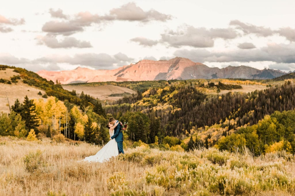 couple eloping in Colorado in the fall