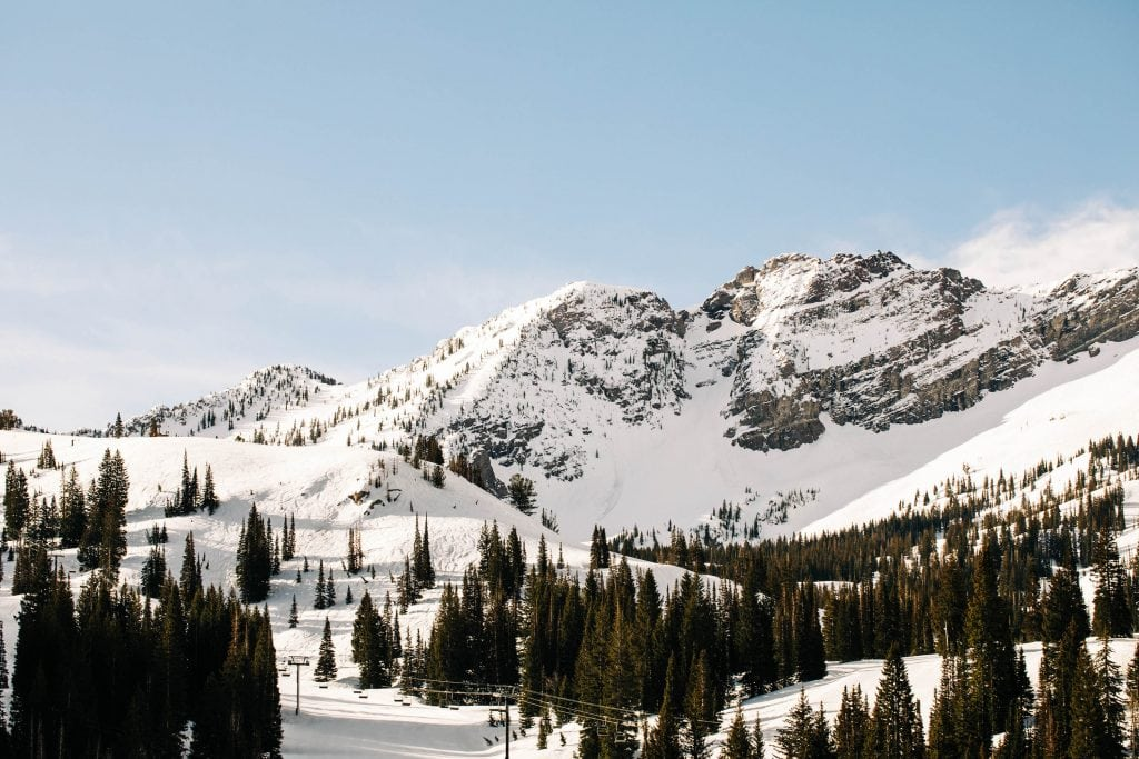 best place to elope in Utah | snowy mountains near Salt Lake City