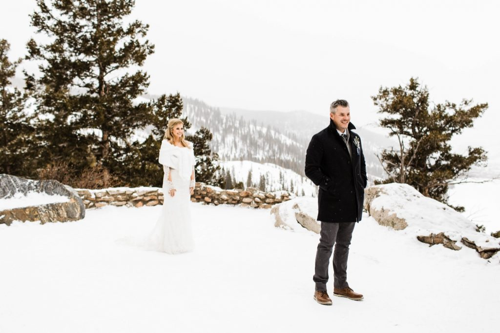 elopement first look at Dillon's Sapphire Point Overlook