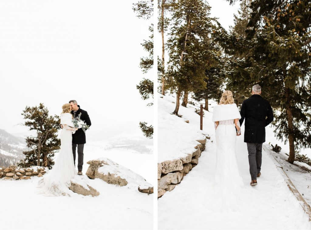 couple hiking during their Sapphire Point elopement in the snow