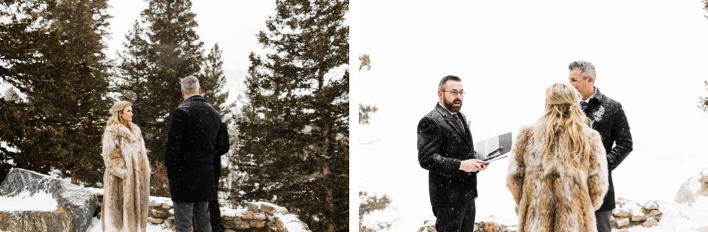 snowy winter Sapphire Point elopement ceremony
