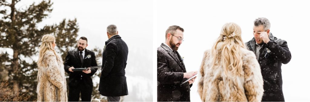 groom crying during his elopement at Sapphire Point Overlook in Colorado