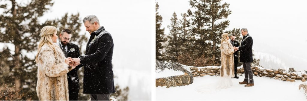eloping couple exchanging rings during their winter Sapphire Point elopement in Colorado