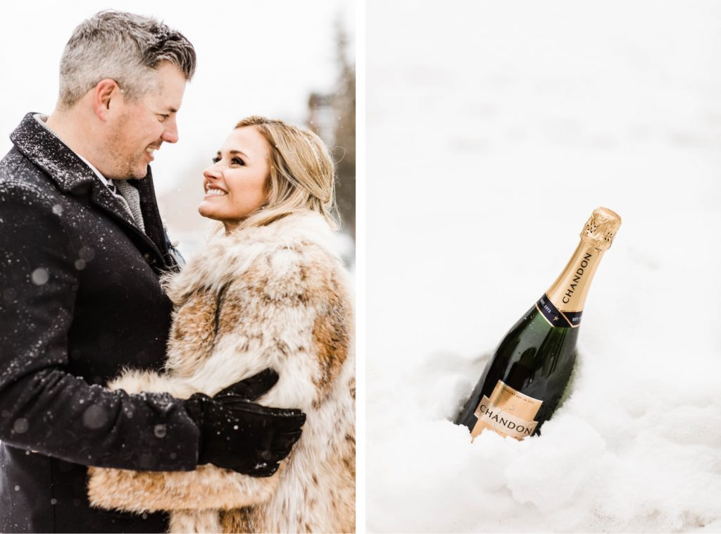 eloping couple picking up champagne in downtown Frisco Colorado after their snowy winter Sapphire Point elopement