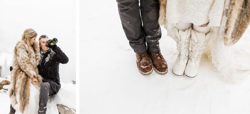 snow boots for a winter Sapphire Point elopement