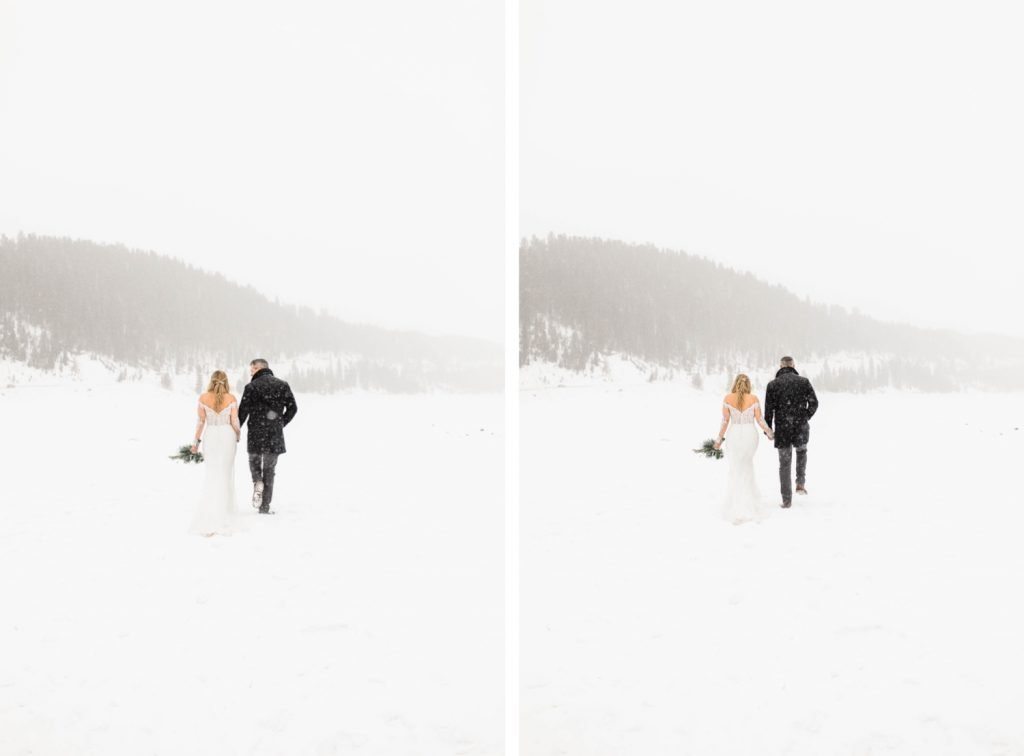 couple walking together in the snowy mountains after they eloped at Sapphire Point Overlook