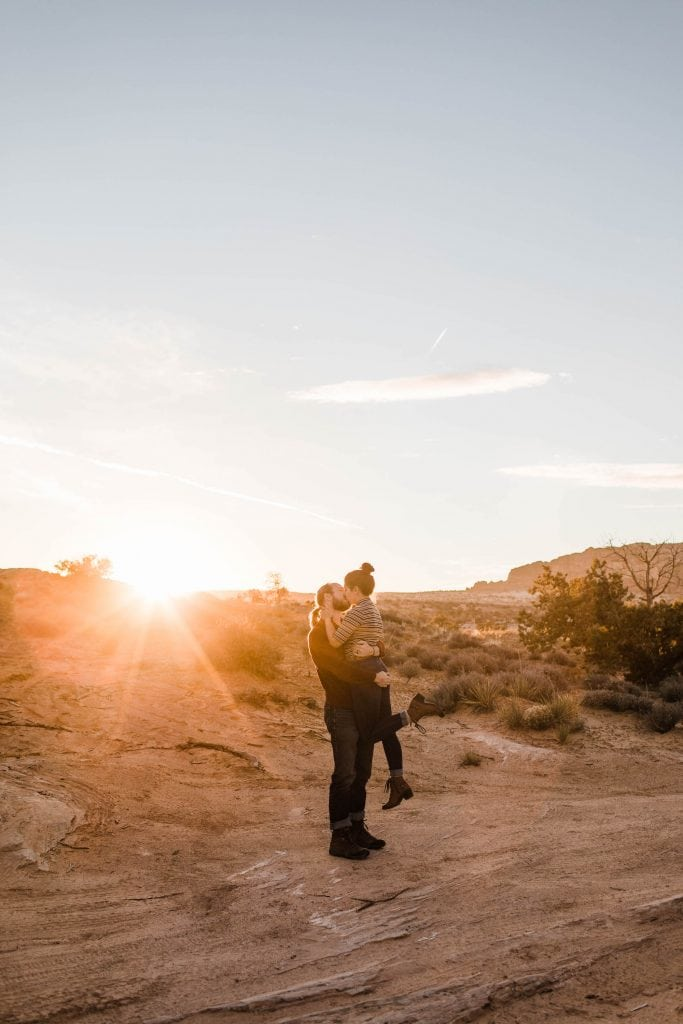 adventure elopement photographers go on a road trip to Moab Utah