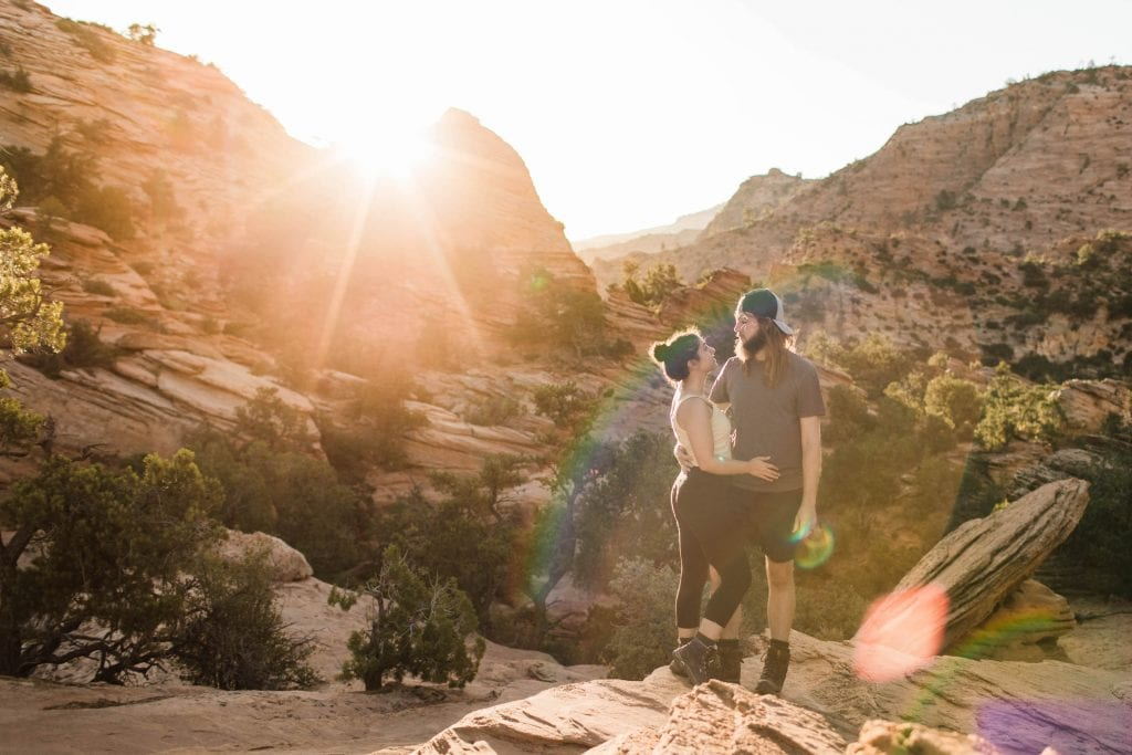 foco adventure elopement photographers on a hike in the high desert near St George Utah