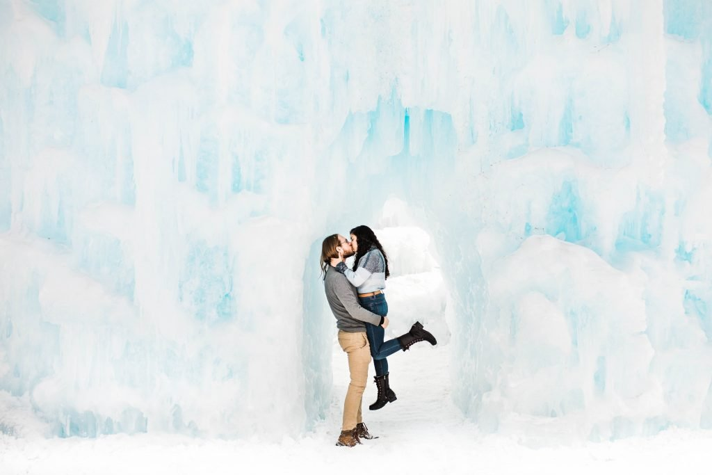 ice castles engagement session of two adventure elopement photographers based in Fort Collins