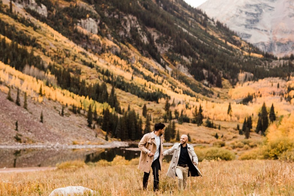 Maroon Bells Aspen Colorado elopement adventure wedding with fall color aspen trees by a lake