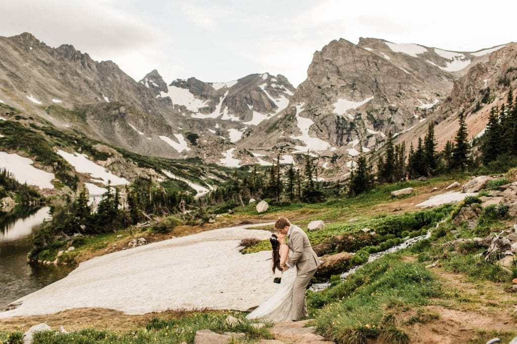 Indian Peaks Colorado elopement adventure wedding with a mountain view