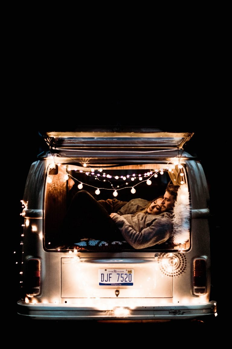 Camper van life Colorado elopement adventure wedding in Nederland Colorado at night