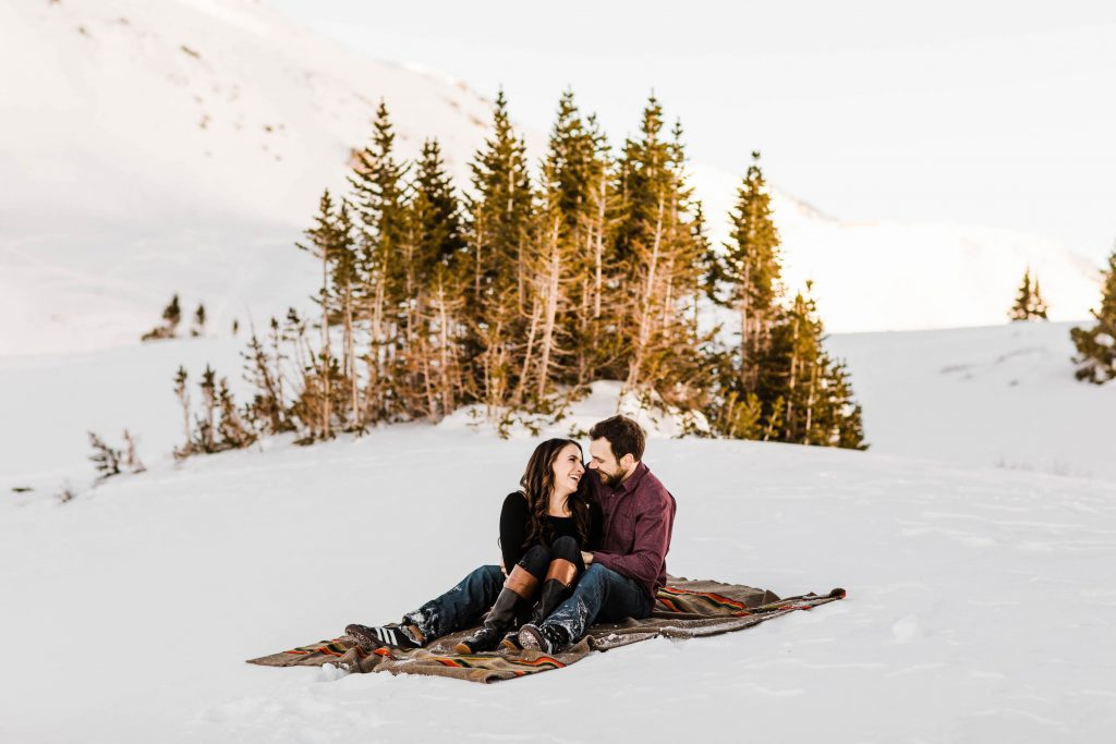 Loveland Pass Colorado elopement style engagement photos taken in the Rocky Mountains by adventure wedding photographers