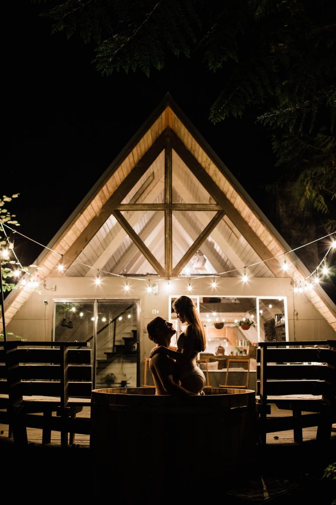 Mt Rainier adventure wedding elopement in an a-frame cabin at night