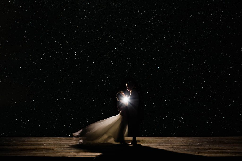 couple eloping under a starry night sky   how to elope, elopement tips