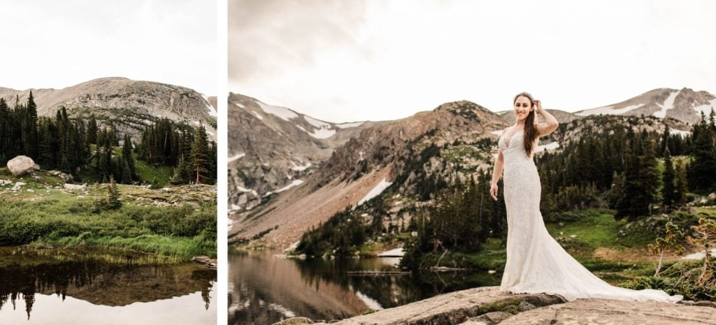 photo of a bride after her mountain wedding in Colorado taken by Colorado mountain wedding photographers