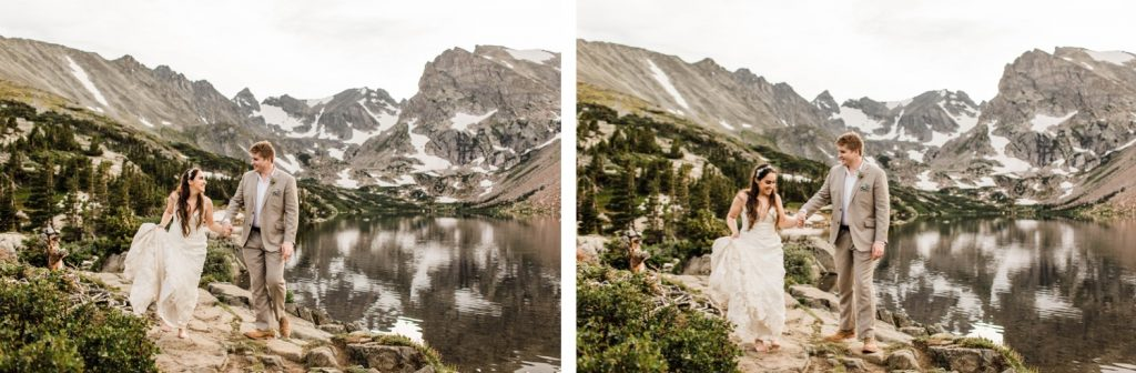 married couple hiking next to an alpine lake during their mountain wedding in Colorado