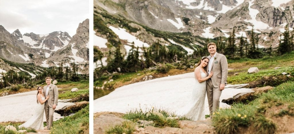 Colorado mountain wedding photos taken by a glacier near an alpine lake