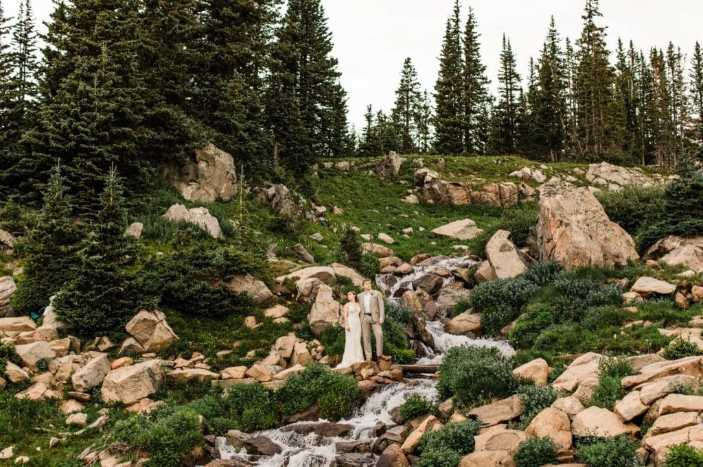 summer mountain wedding in Colorado in the Indian Peaks Wilderness