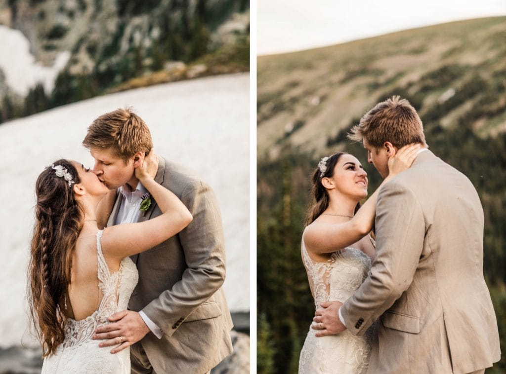 couple kissing during their mountain wedding in Colorado