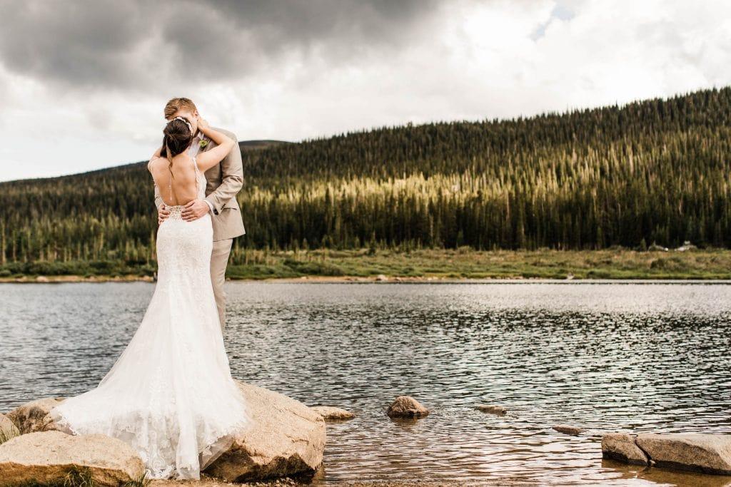 mountain wedding in Colorado Rocky Mountains by an alpine lake