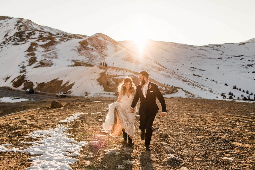 hiking wedding dress with hiking boots underneath