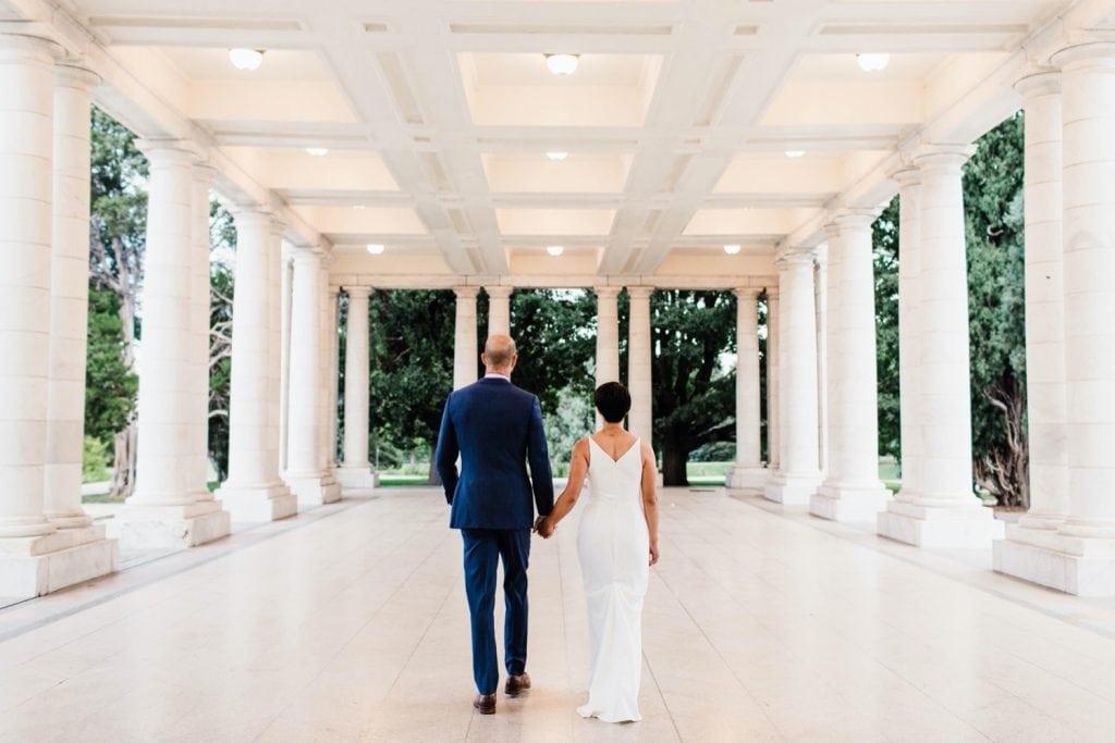 wedding photos at the Pavilion at Cheesman Park before a wedding at Denver Botanic Gardens