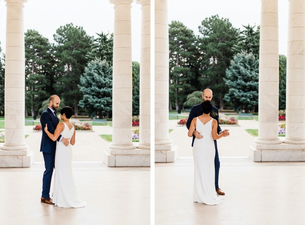 couple dancing together before their small Denver Botanic Gardens wedding at Woodland Mosaic greenhouse